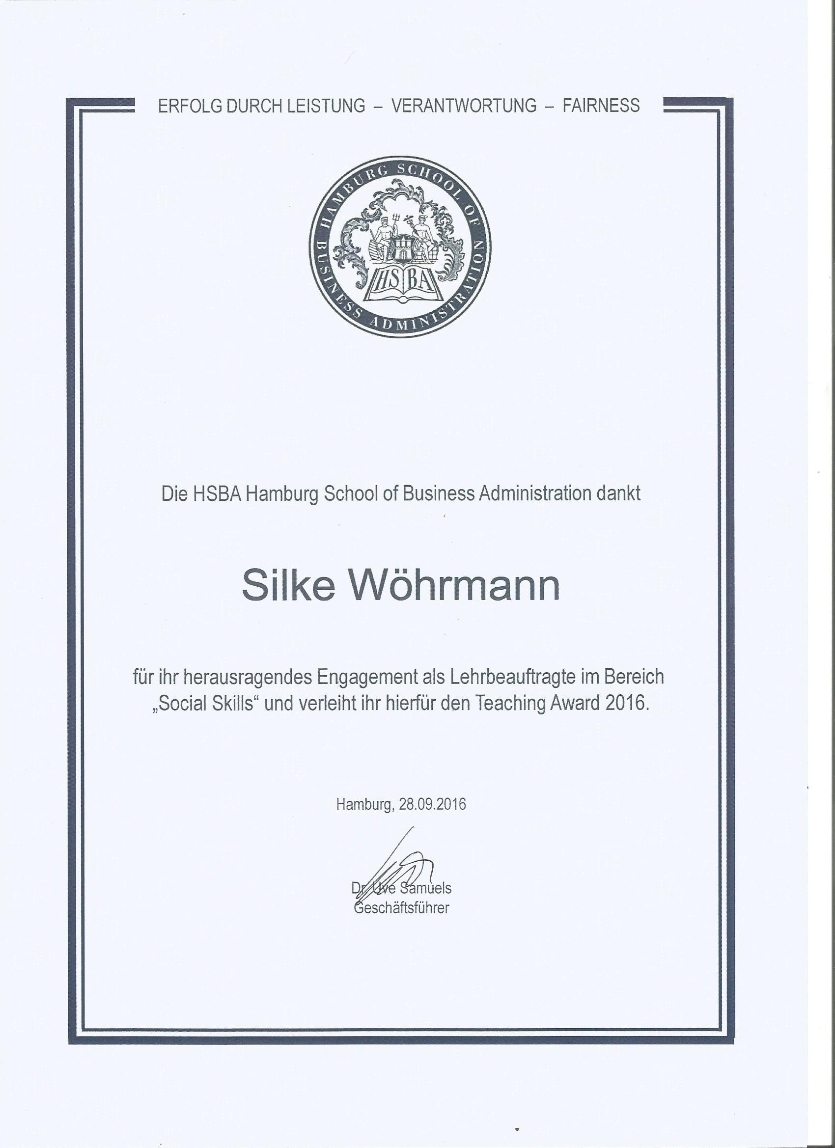 Verleihung Teaching Award Silke Wöhrmann